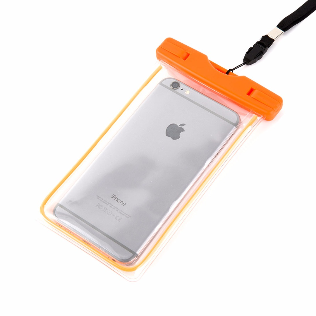 Water and Sand Proof Beach Time Perfect Transparent PVC Phone Bag in Orange