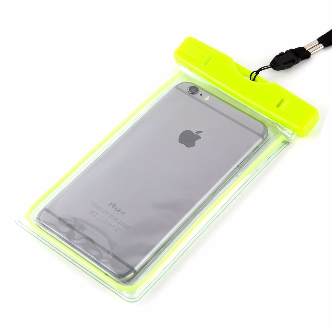 Water and Sand Proof Beach Time Perfect Transparent PVC Phone Bag in Lime
