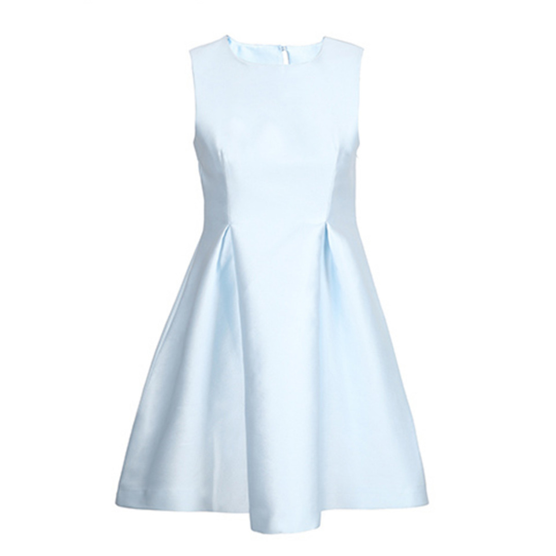 Women's Elegant Sleeveless Smocking Dress with Bowknot
