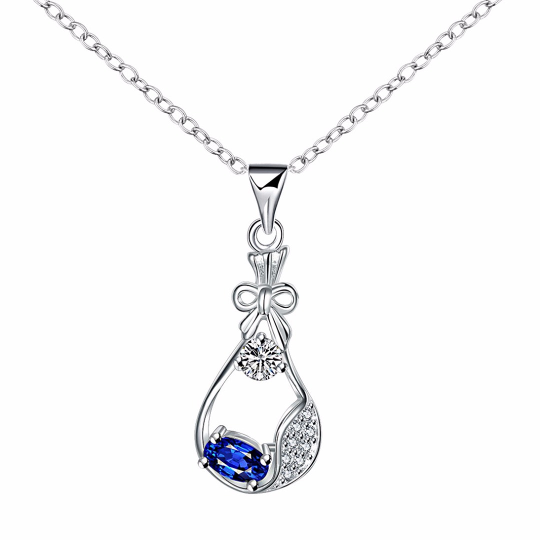 Women Fashion Crystal Bowknot Water Bottle Pendant Necklace in Blue