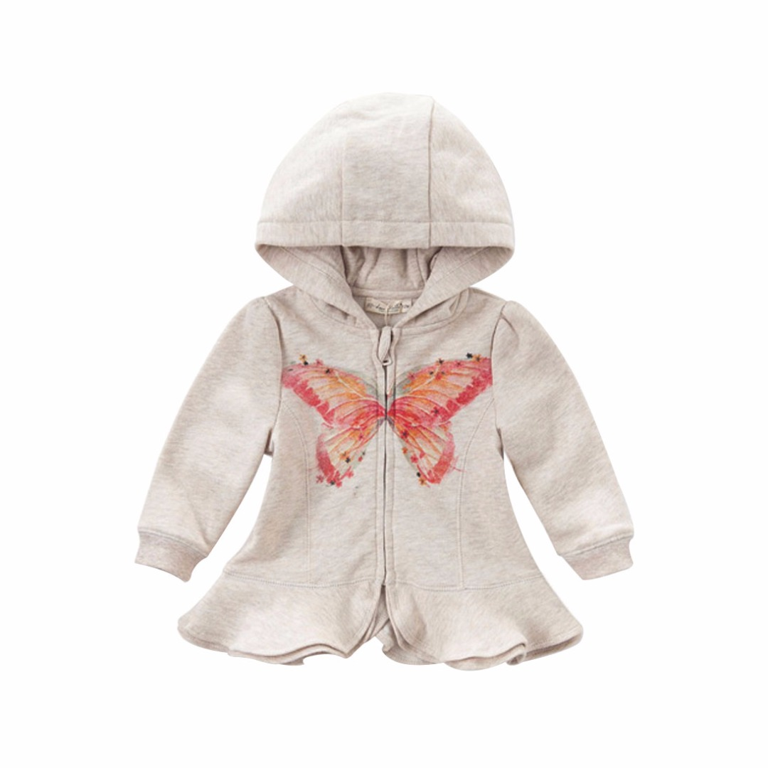 Baby Girl/Girl's Beige Cool Butterfly Cotton Coat With Hat and Lap