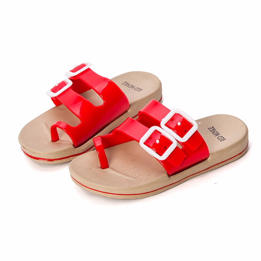 Kid's Red Strappy Soft Anti-skid Sandals