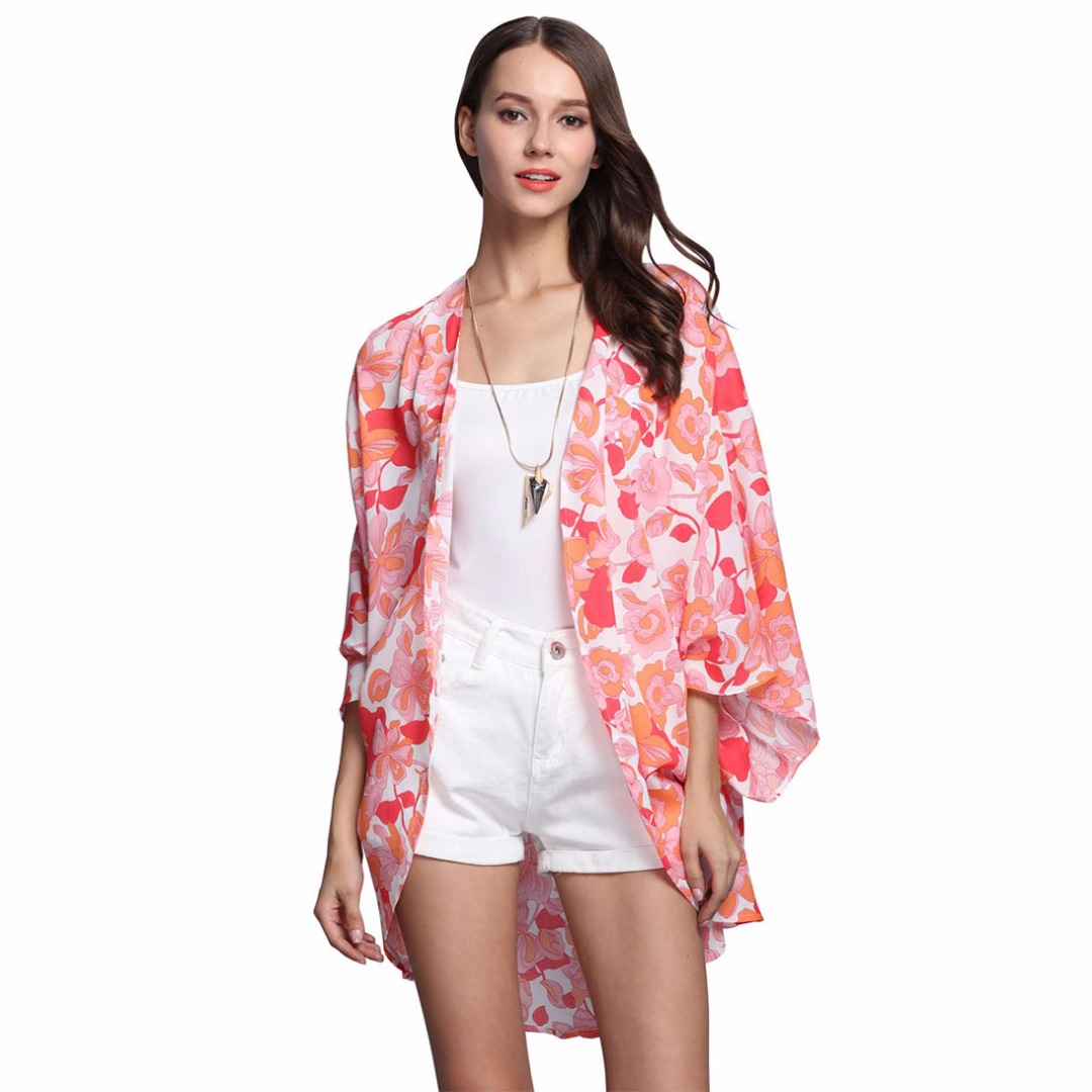 Women's Chiffon Open-Front Floral Cardigan/Top