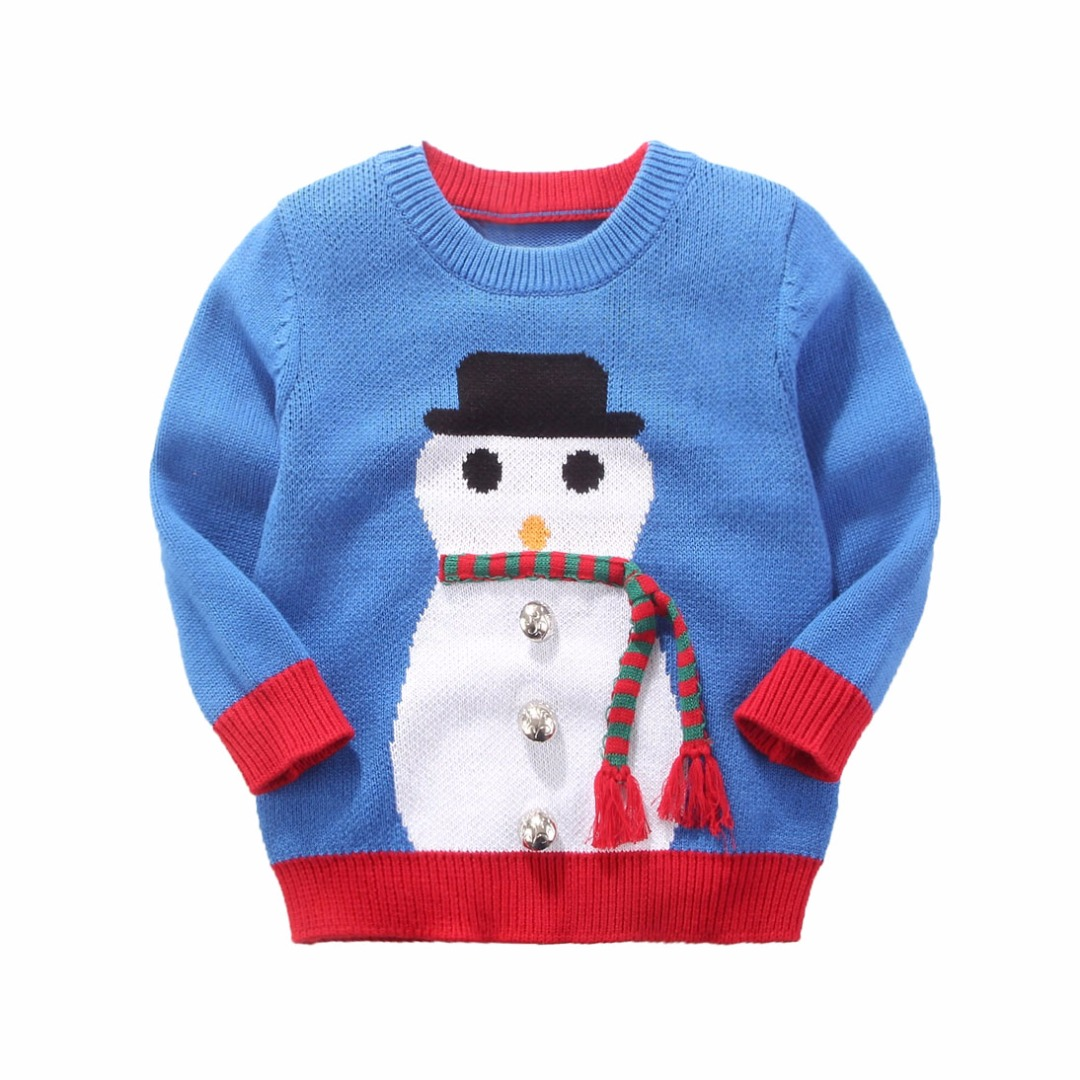 Toddler/Boy's Blue & White Snowman Cotton Sweater