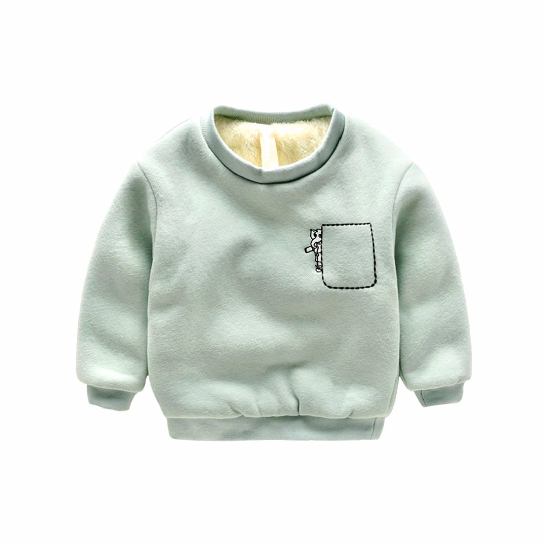 Toddler/Boy's Embroidered Elephant Plush-Lined Pullover in Blue