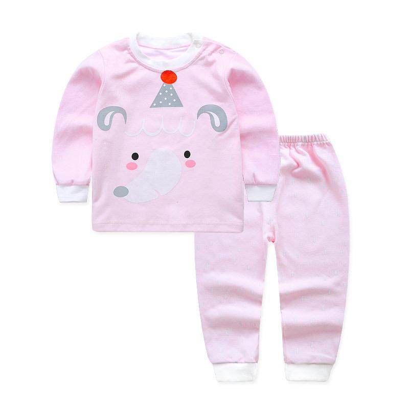 Birthday Star Elephant Cotton Pants Set in Pink