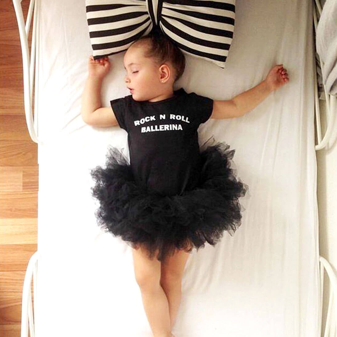 Rock n' Roll Printed Tutu Dress in Black for Baby/Toddler Girls