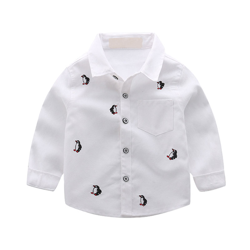 Penguins Embroidered Cotton Shirt/Top for Baby/Toddler Boys