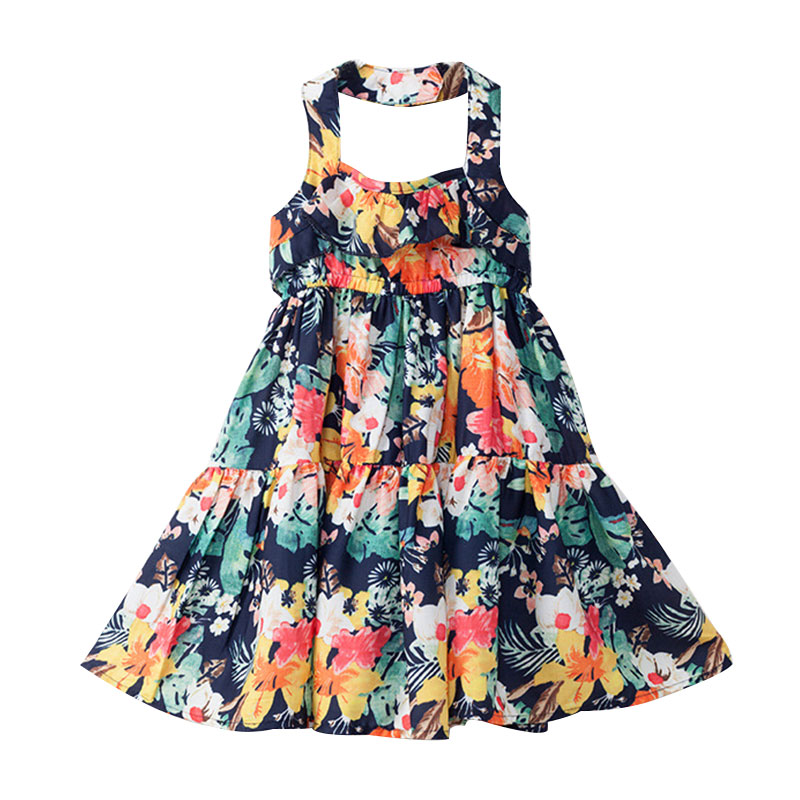 Girl's Floral Tiered Halter Beach Dress