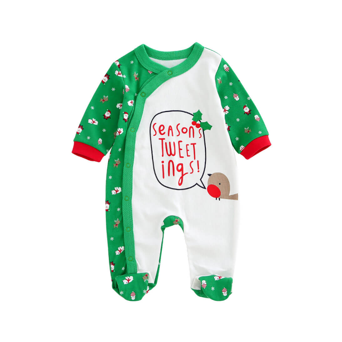 Santa Printed Cotton Jumpsuit in Green for Baby/Toddler