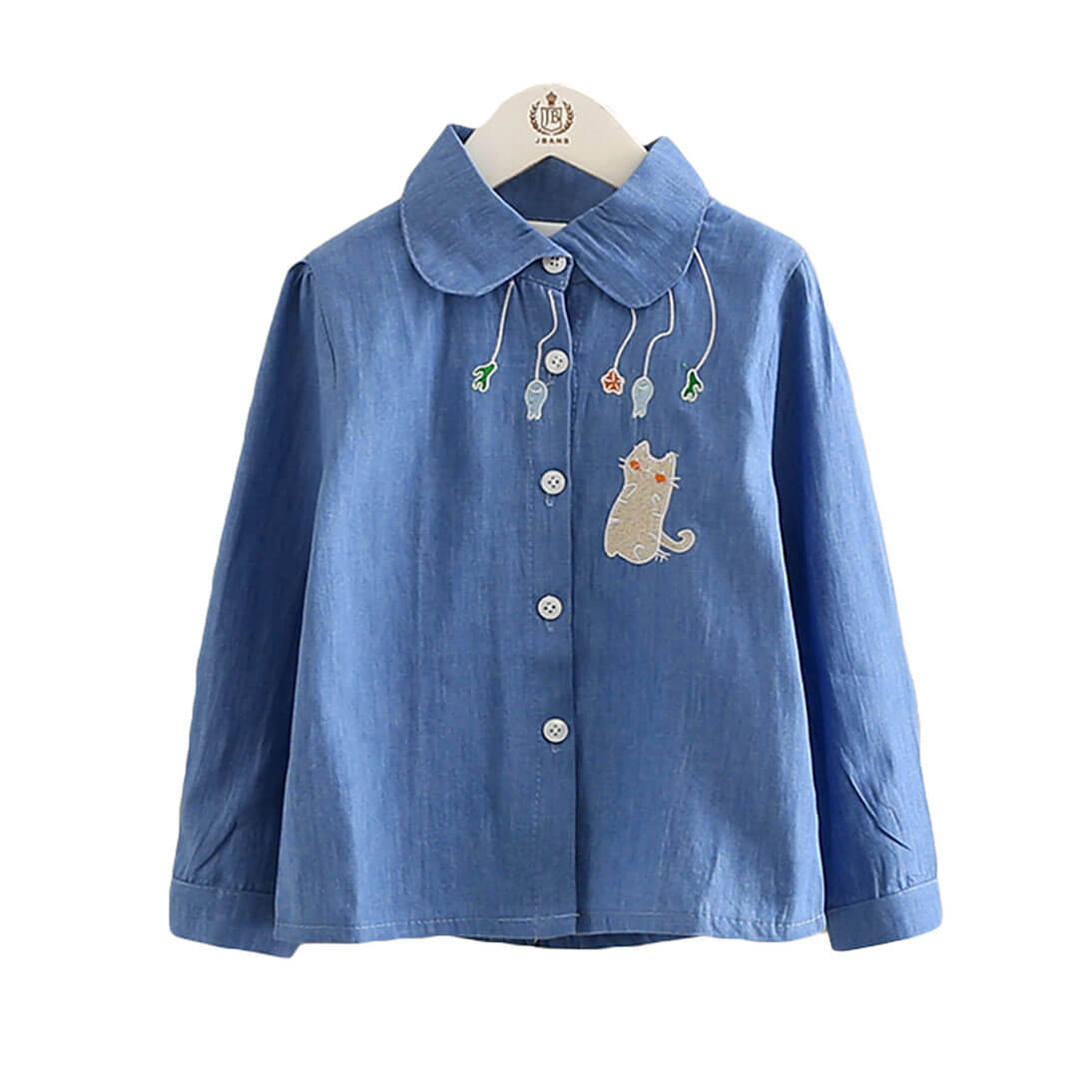 Cat and Her Blue Shirt for Toddler Girl and Girls
