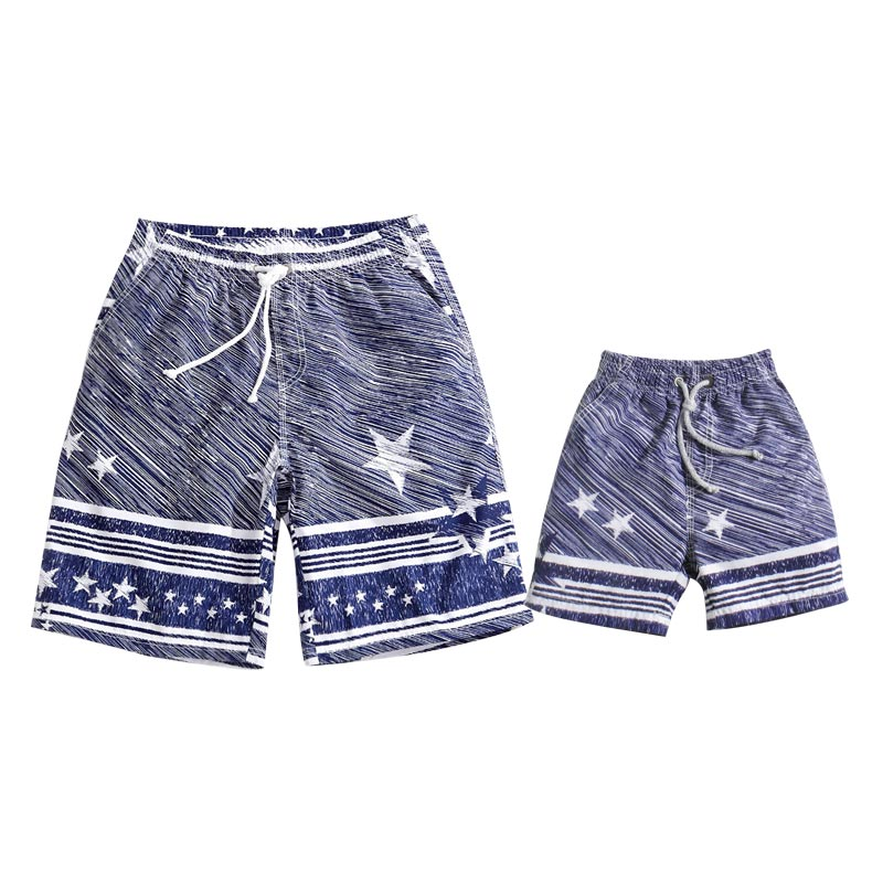 Stylish Stars Swim Trunks for Daddy and Me Quick-dry
