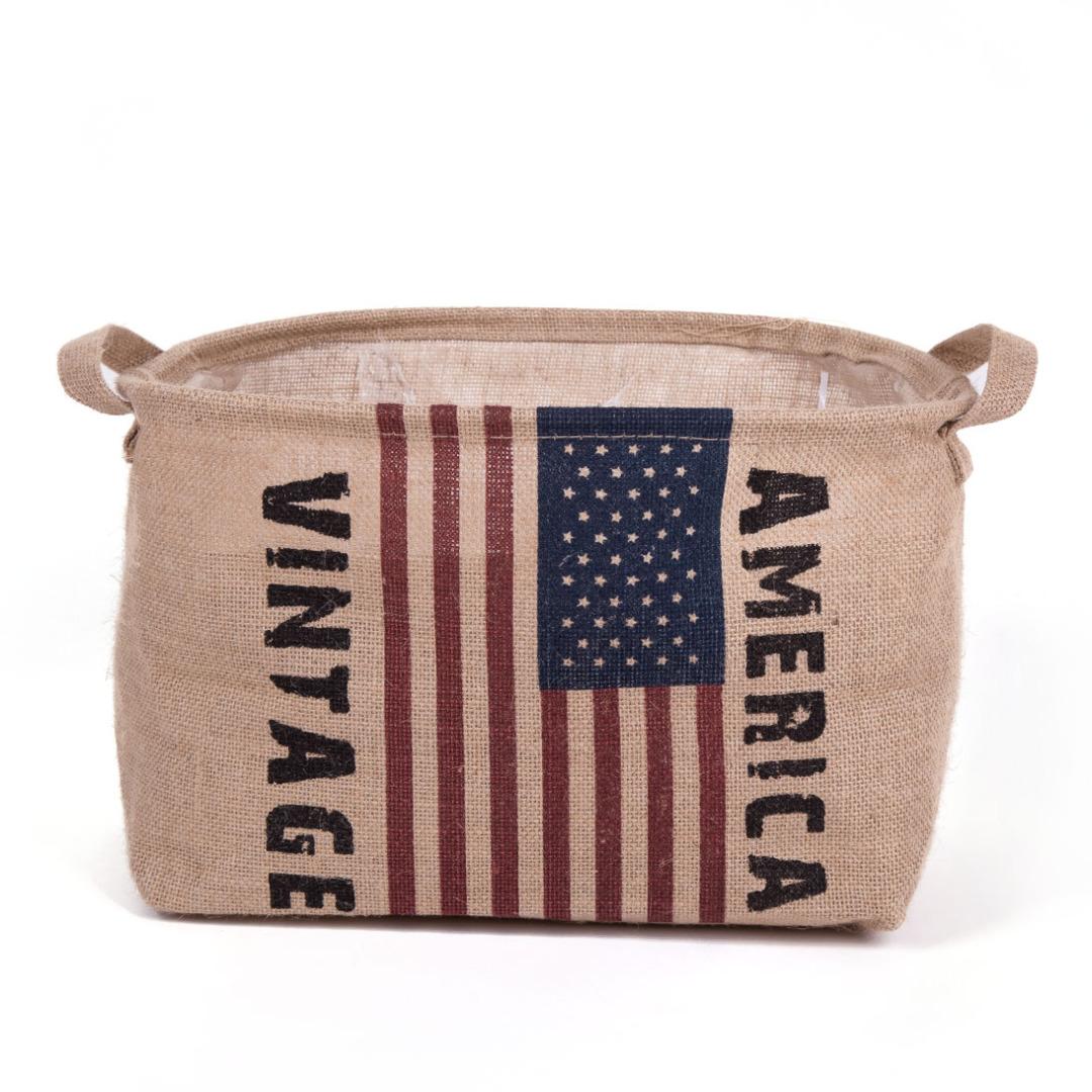 Short America-Themed Laundry Hamper