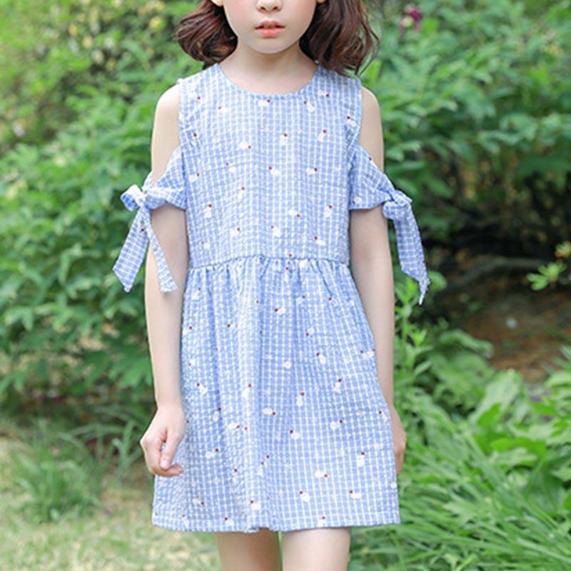 Stylish Off-shoulder Plaid Dress for Girls