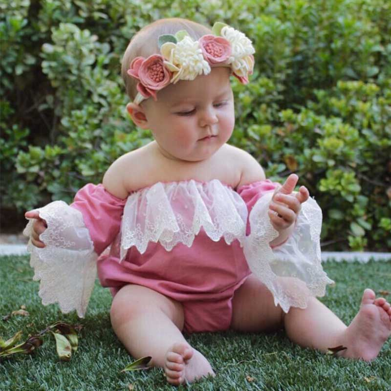 Sweet Off-shoulder Ruffled Bodysuit for Baby Girls