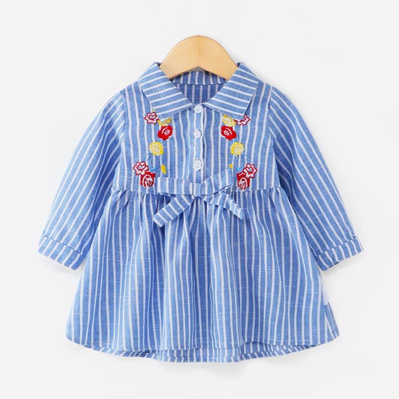Flower Embroidery Stripes Blue Shirt Dress for Toddler Girls