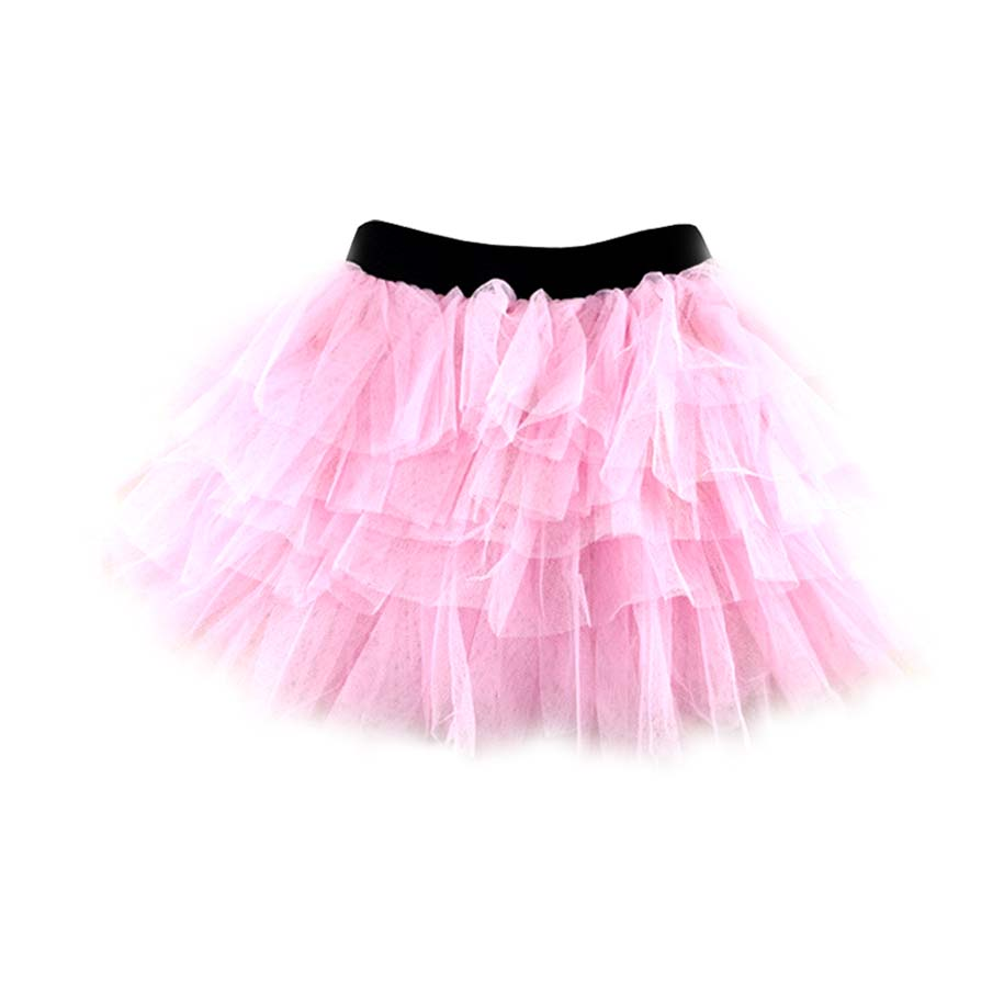 Girl's Cotton Pink Layered Tutu Skirt