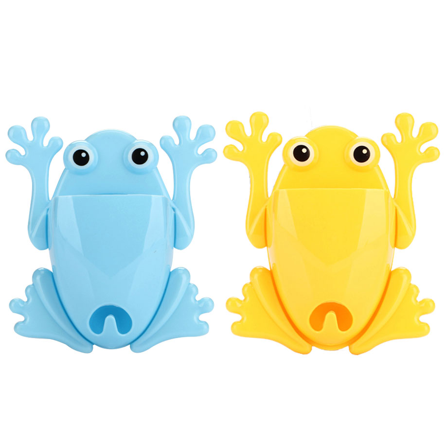 Blue & Yellow Frog Toothbrush Holder (2 pack)