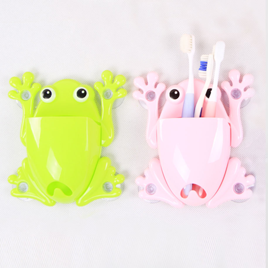 Green & Pink Frog Toothbrush Holder (2 pack)