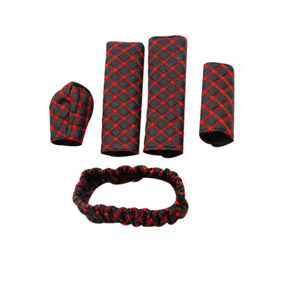 5pc Classy Grid Pattern Car Interior Accessory Set