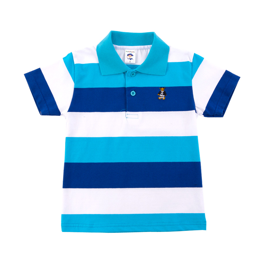 Blue Stripe Bear Embroidered Polo Shirt