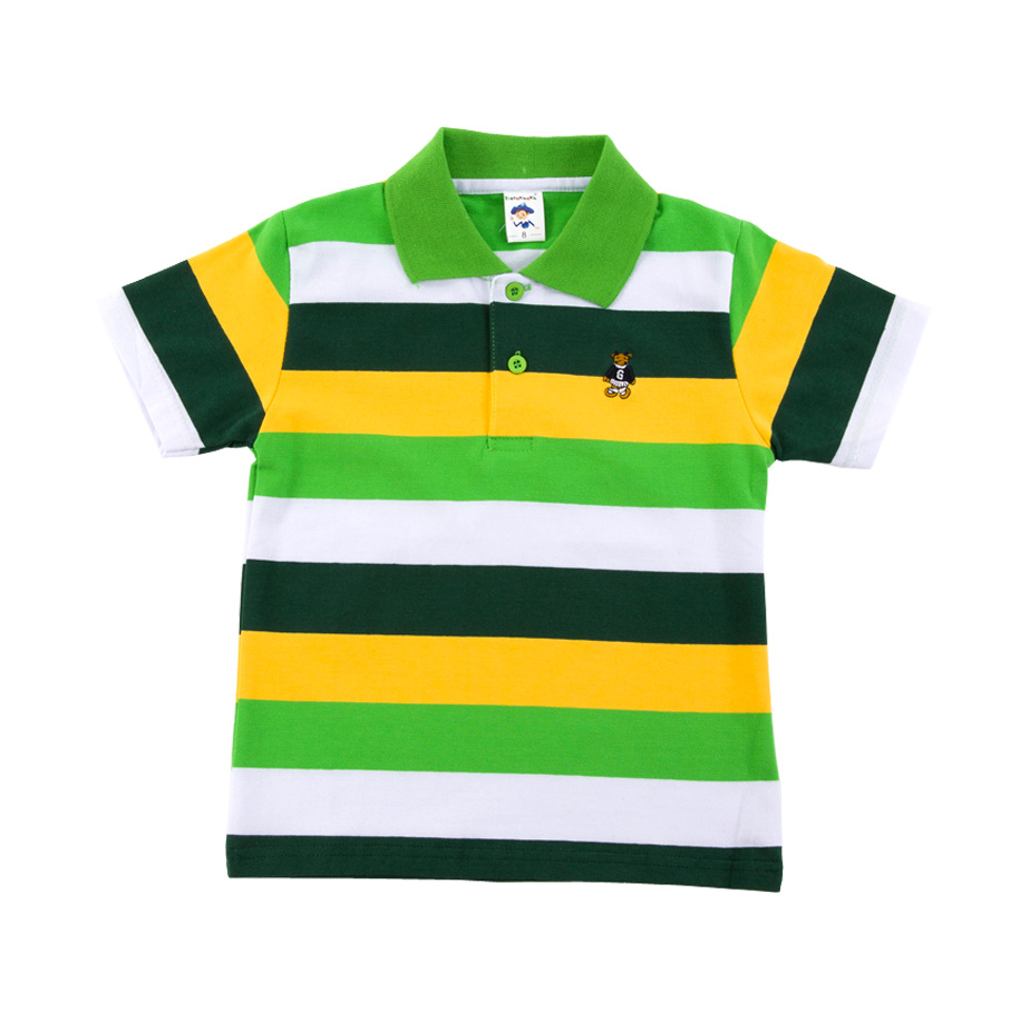 Image For Vibrant Green Stripe Polo Shirt