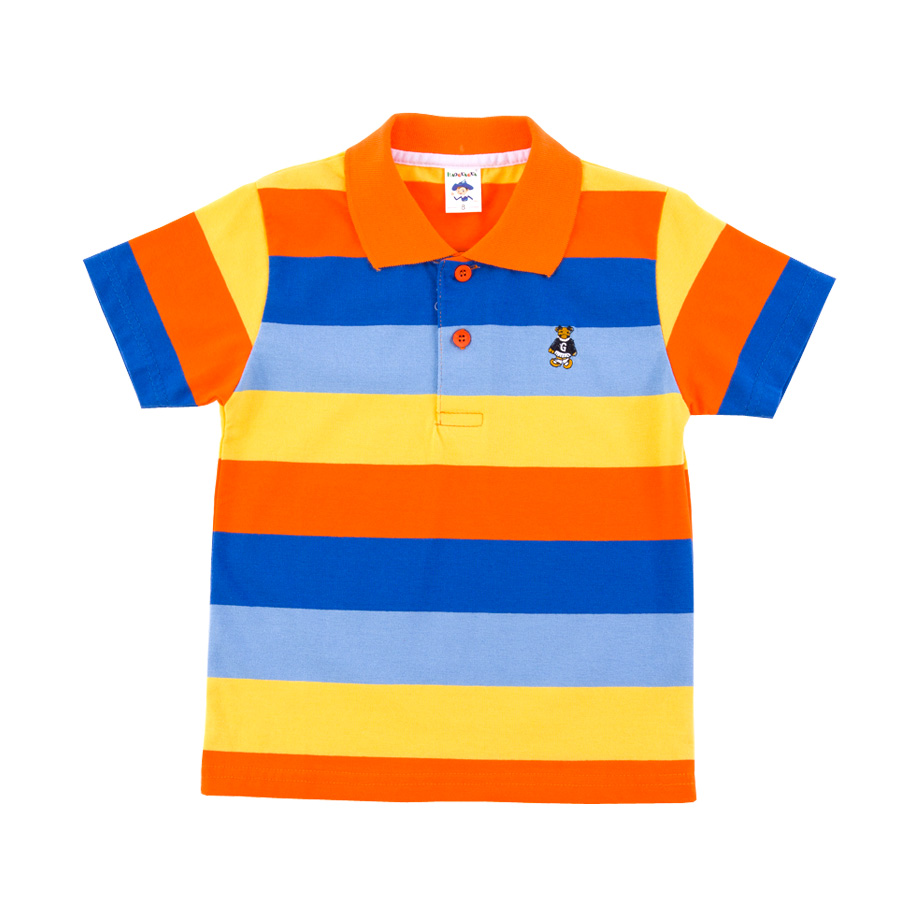 Image For Large Stripe Orange Vibrant Stripe Polo Shirt