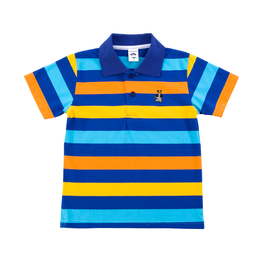 Cheerful Blue Stripe Polo Shirt