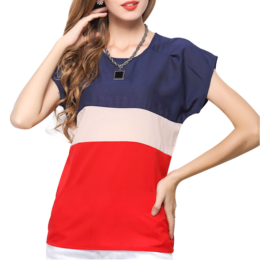 Relaxed Colorblock Chiffon Top 11105-en-USD-XS