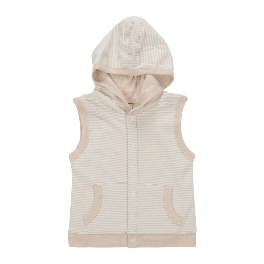 Striped Hooded Vest in Taupe