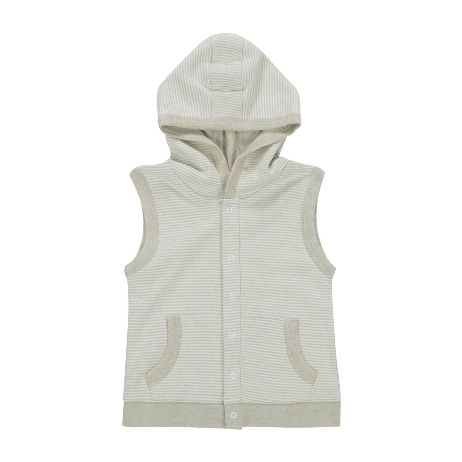 Striped Hooded Vest in Grey