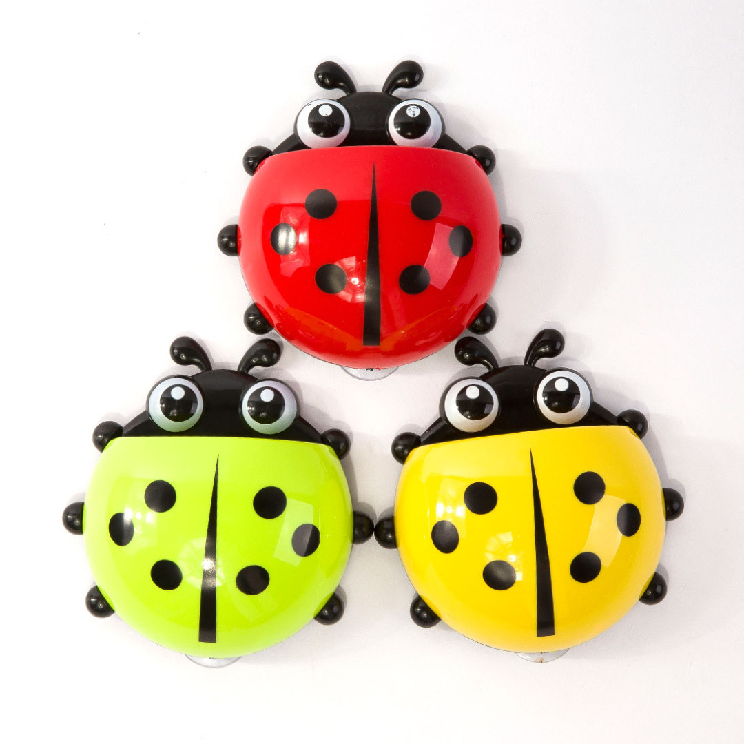 Red & Yellow & Green Ladybug Toothbrush Holder (3pc-set)