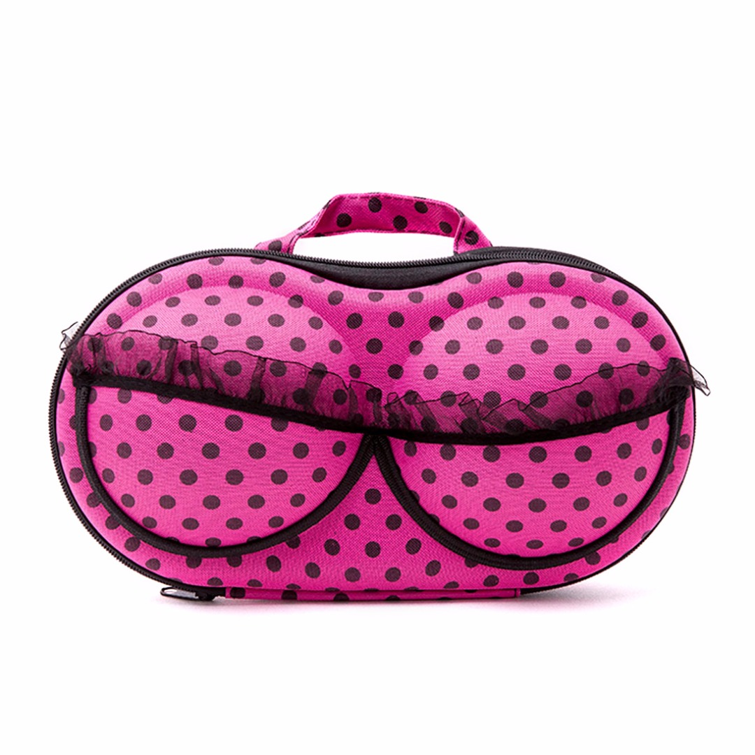 Pink & Black Polka Dots Bra Storage Case for Women